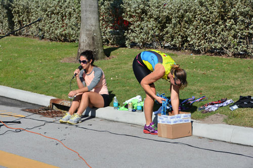 Triathlon workers behind the scenes