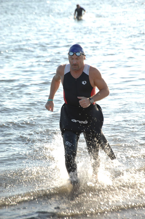 Exiting the water from the triathlon swim