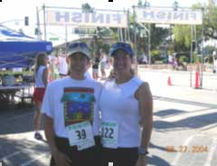 My sister Kristine and I at our 5K.  Some family members thought I was my sister!